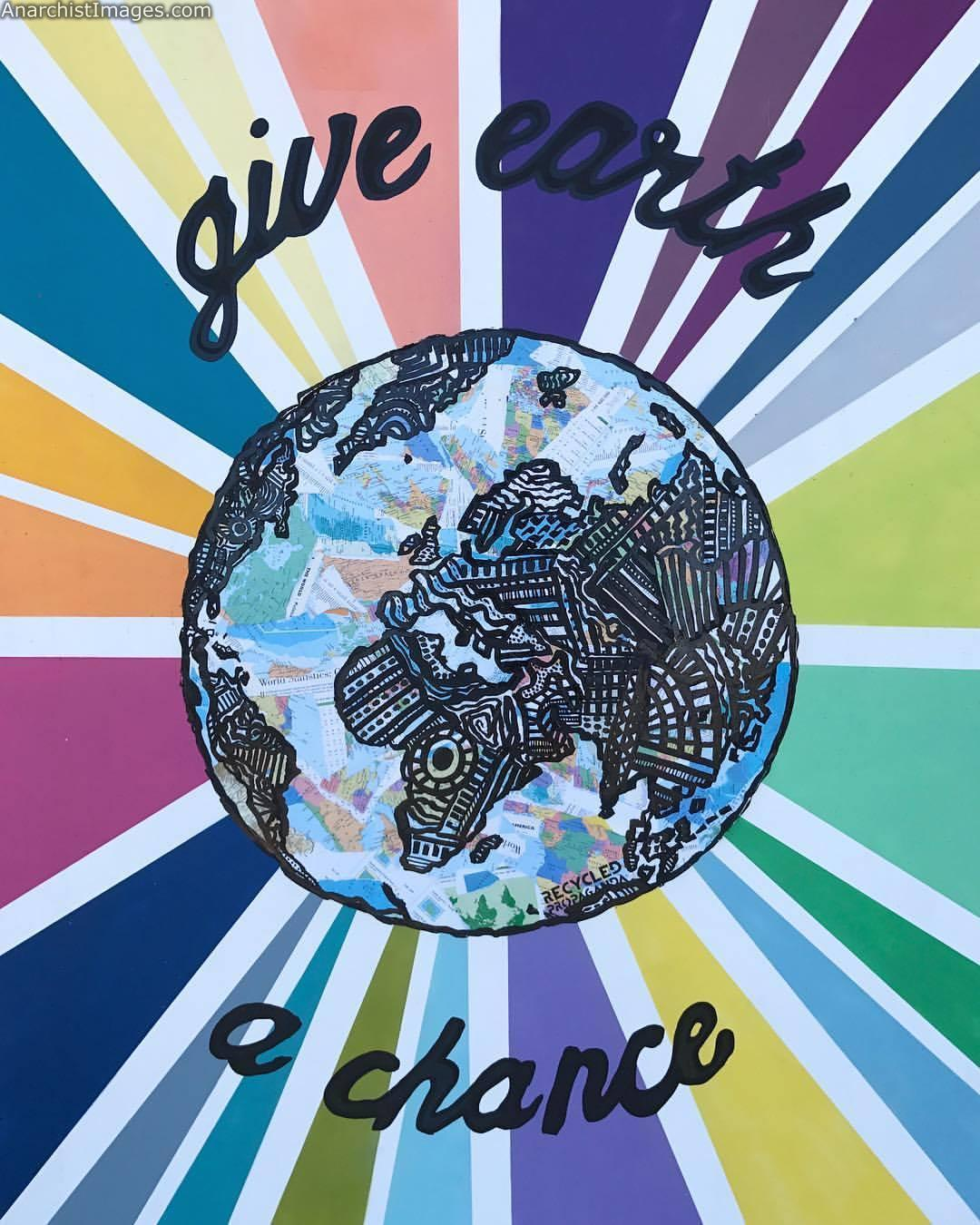 """Give earth a chance 48x60"""", mixed media on framed wood hanging at the new @vegenation location"""
