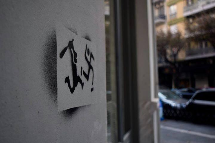 Anti-nazi stencil in Salonica, Greece