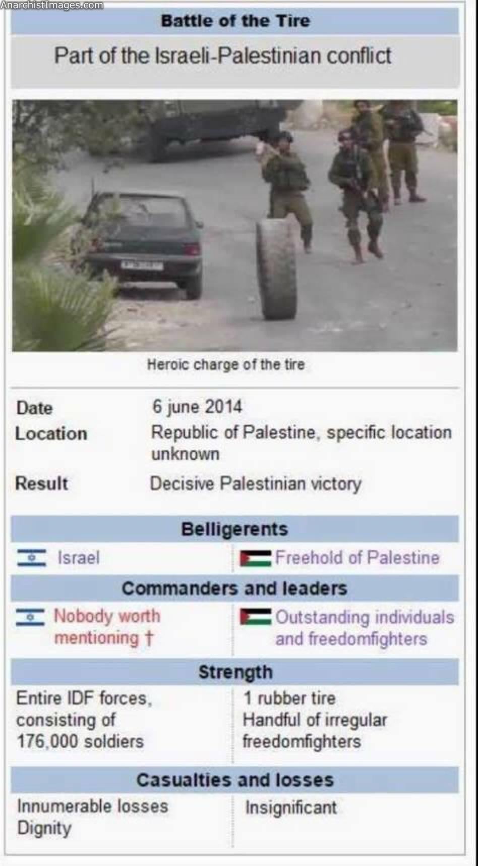 The Battle of the Tire (Palestine) Video from the epic battle: